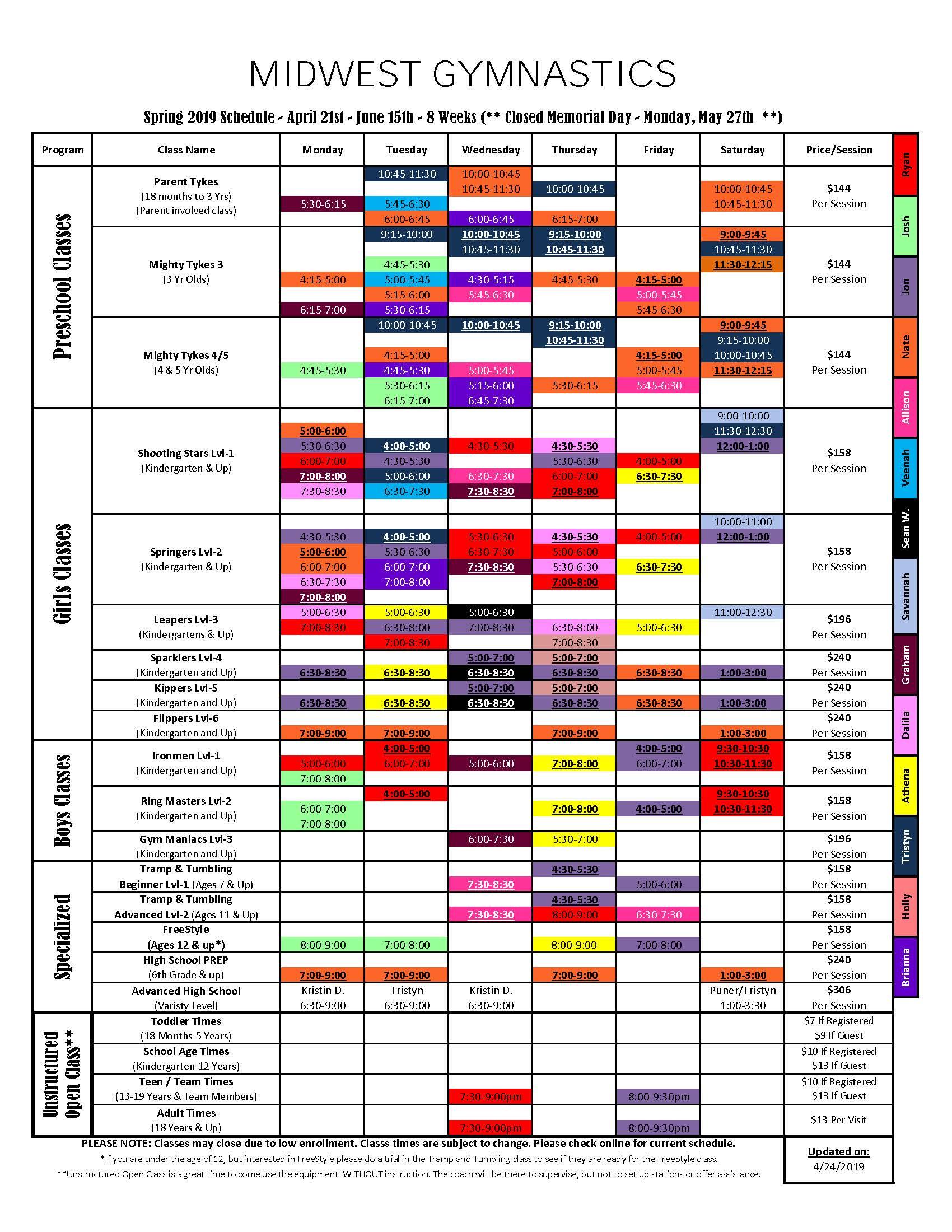 Spring 2019 Schedule width=